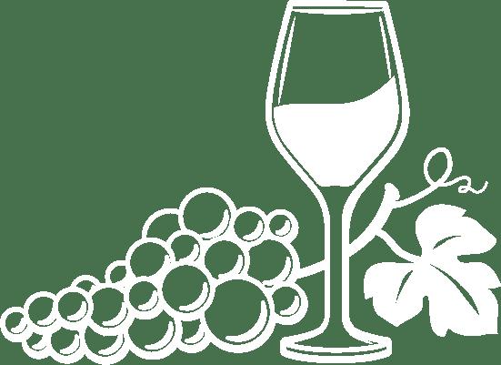 Logo Piguet Chouet - Un verre et une grappe de raisin entremêlés en blanc