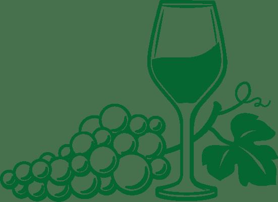 Logo Piguet Chouet - Un verre et une grappe de raisin entremêlés en vert